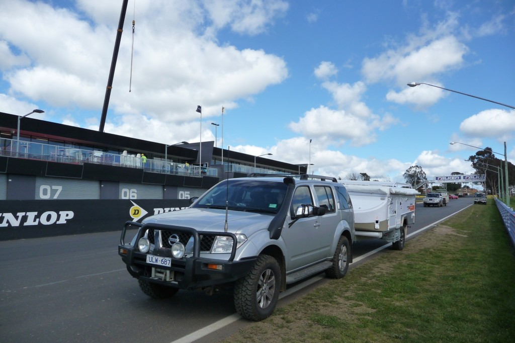 Jayco Outback Swan parked on pit straight - Bathurst 1000