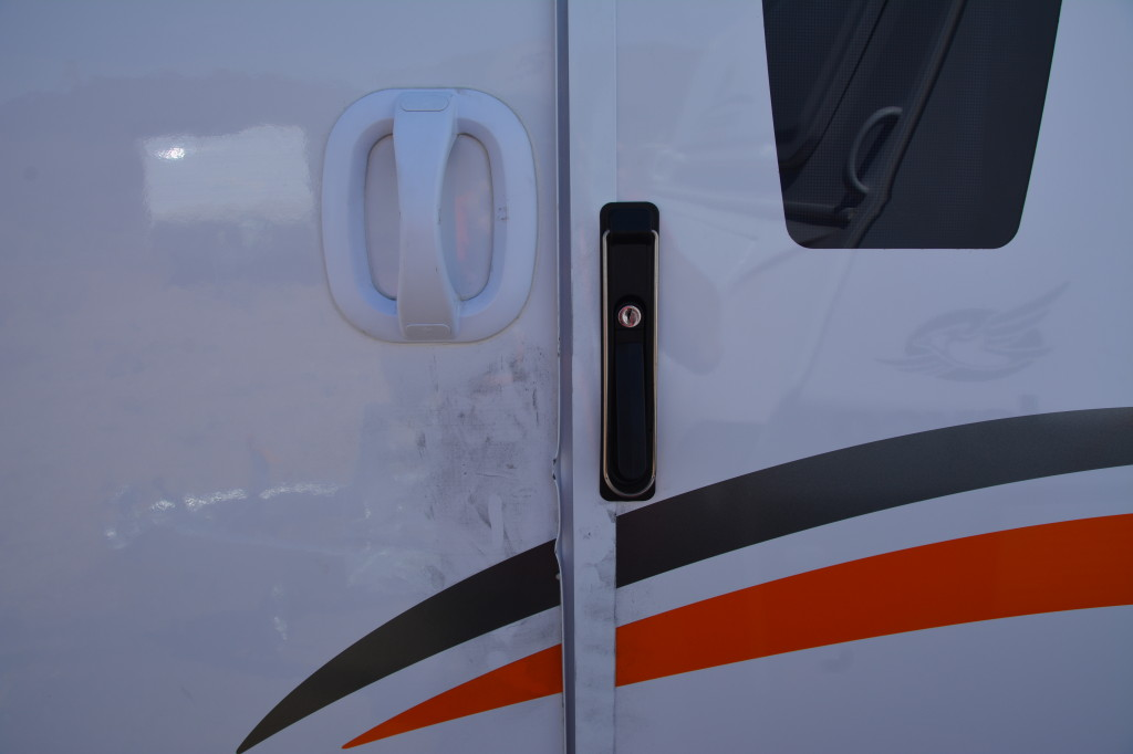 Damaged door on the Jayco Expanda