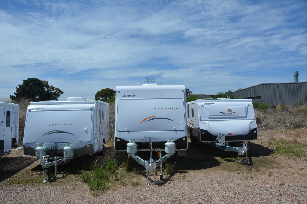 The Jayco Expanda with other damaged caravans