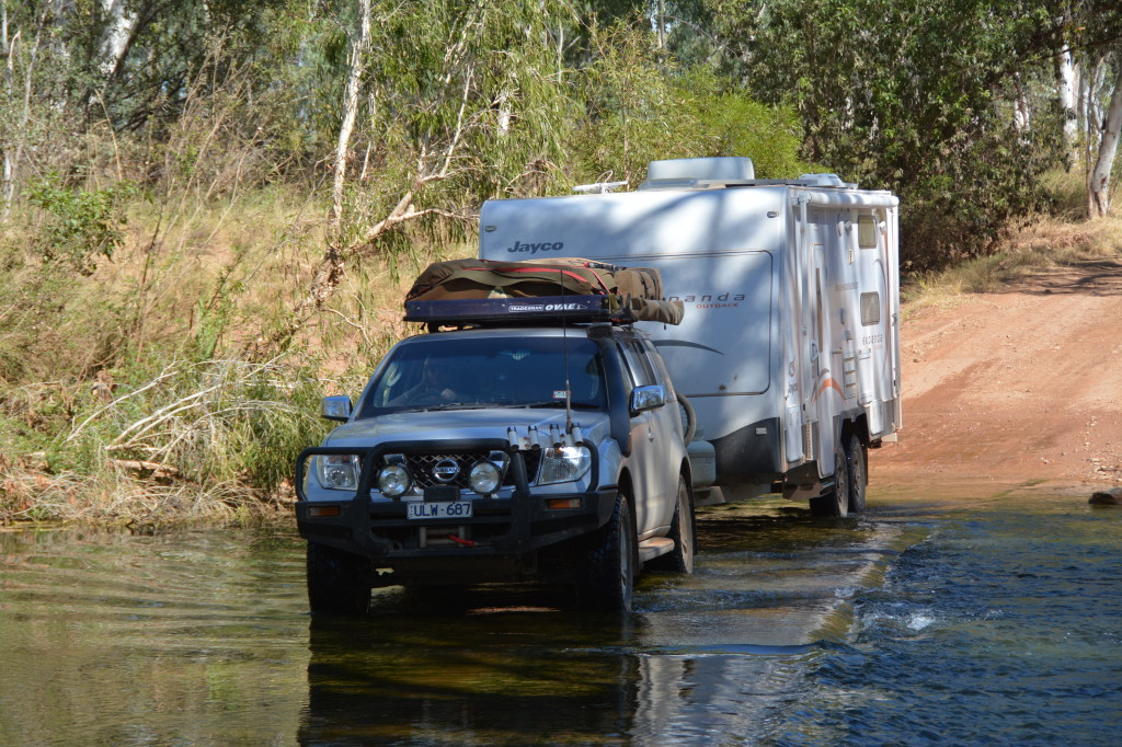 Jayco Expanda crossing a river in the Gulf Country, NT