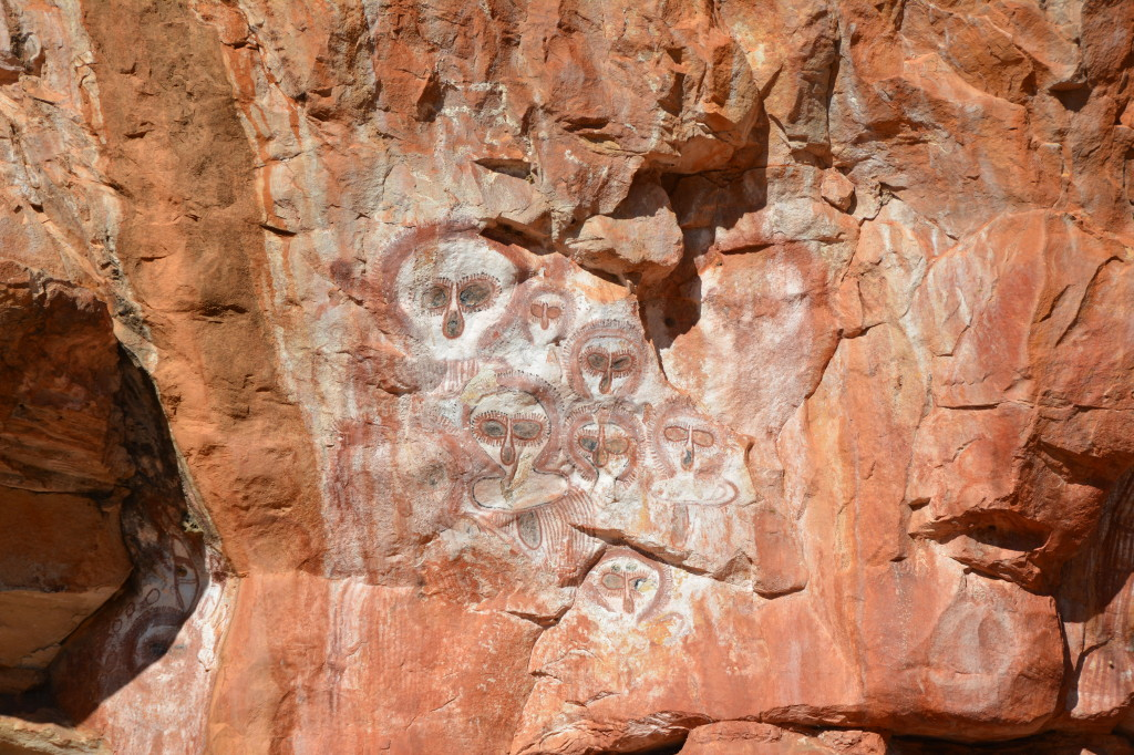 Wandjina art at Wunnumurra Gorge, Mt Elizabeth Station